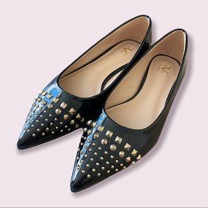 V 1969 Italia   MIA Vegan Patent Leather Studded Ballet Flat Black